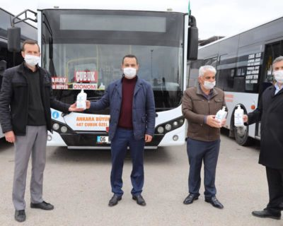 İlçemizde otobüs ve dolmuşlara el dezenfektanı konuldu