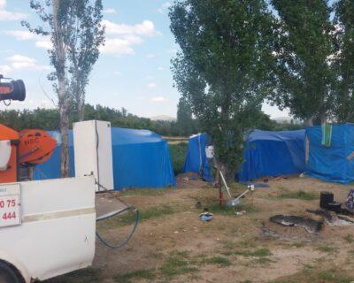 İlçemizde Tarım İşçilerinin Kaldığı Çadırlar Dezenfekte Edildi